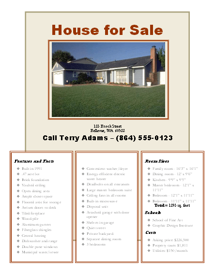 House Sale Flyer Template Free - Home for sale flyer template