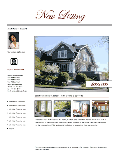 New Listing Flyer (traditional, Design 2, Mult. Photos)