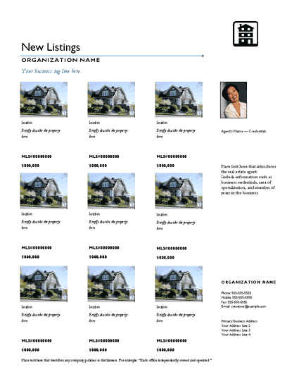 Multiple Listing Flyer (simple Divider, Agent Intro))