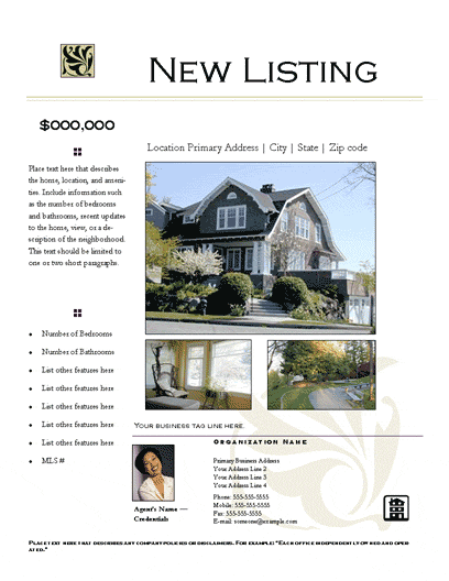 New Listing Flyer (prestige, Design 1, Mult. Photos)