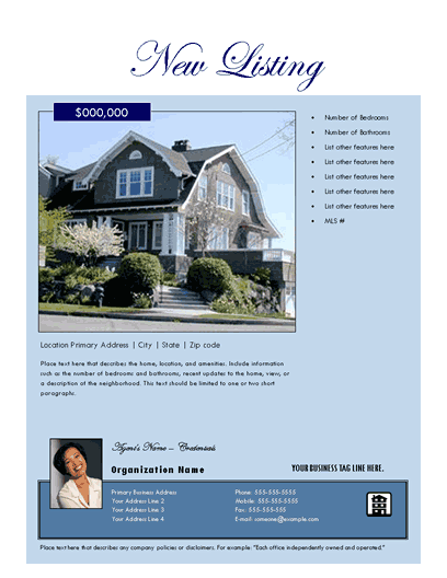New Listing Flyer (estate, Large Photo)