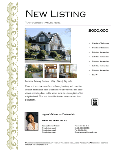 New Listing Flyer (elegant, Design 1, Mult. Photos)