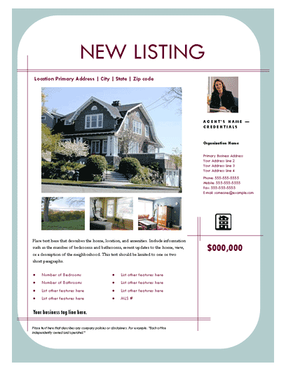 New Listing Flyer (contemporary, Design 1, Mult. Photos)