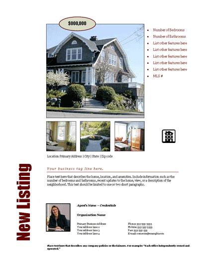 New Listing Flyer (bold, Design 2, Mult. Photos)