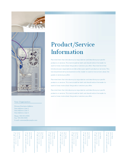 Business Flyer With Tear-off Tabs (soft Blue Design)