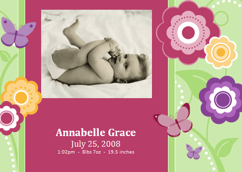 Photo Birth Announcement Cards (flowers Design)