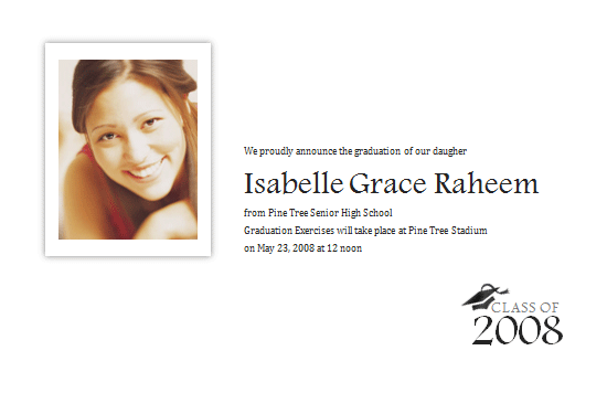 Graduation Announcement With Photo (half-page)