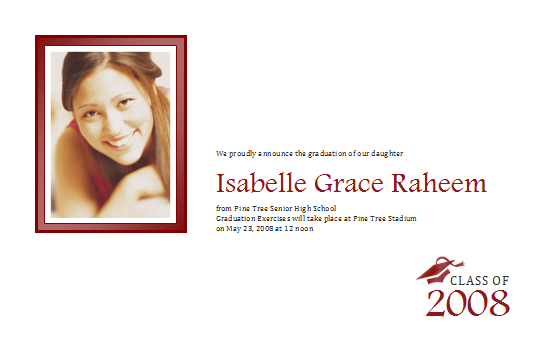 Graduation Announcement With Photo (half-page, Color)