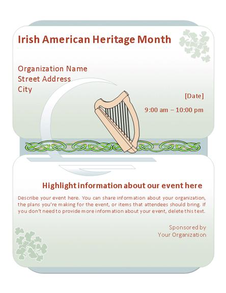 Irish American Heritage Month Event Flyer