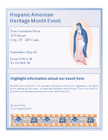 Hispanic American Heritage Month Event Flyer