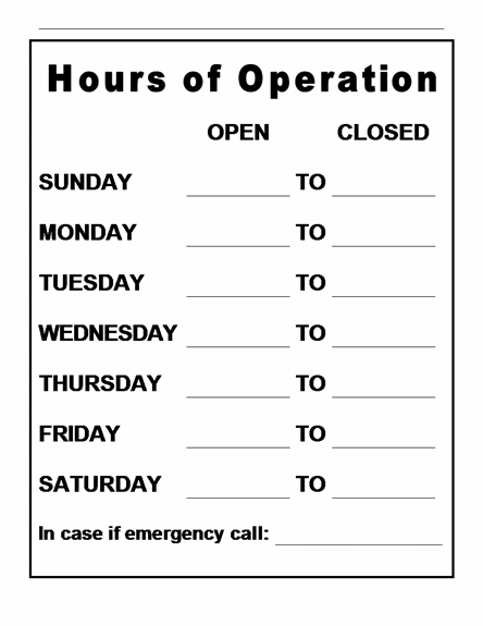 hours of operation sign images frompo With hours of operation template microsoft word