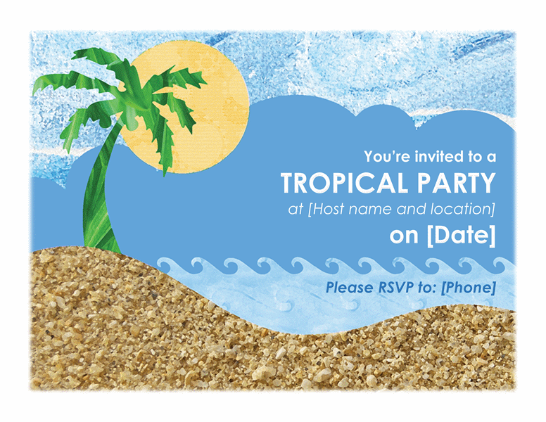 Download tropical party invitation invite your guest free flyer templates for microsoft office for Tropical invitation template