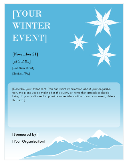 Flyers Templates Winter Event Flyer Event Flyers